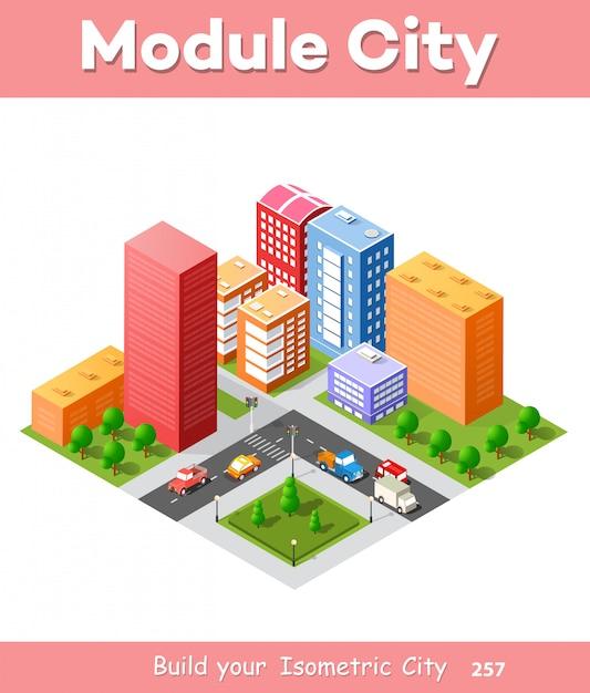 Colorful 3d isometric city Premium Vector