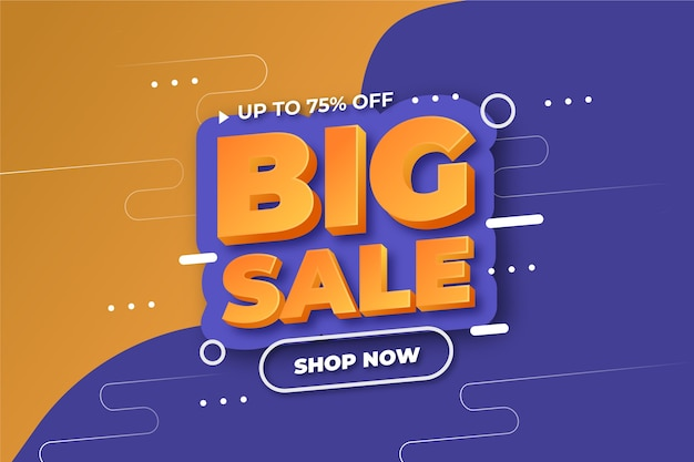 Colorful 3d sales background concept Free Vector