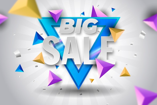 Colorful 3d sales background Free Vector