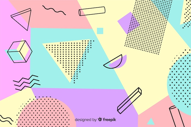 Colorful 80's geometric background Free Vector