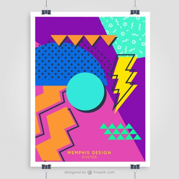 Colorful 80's poster template Vector | Free Download