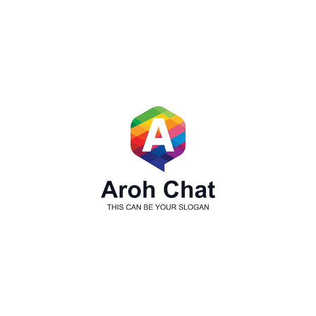 Colorful a letter logo in chat box Vector