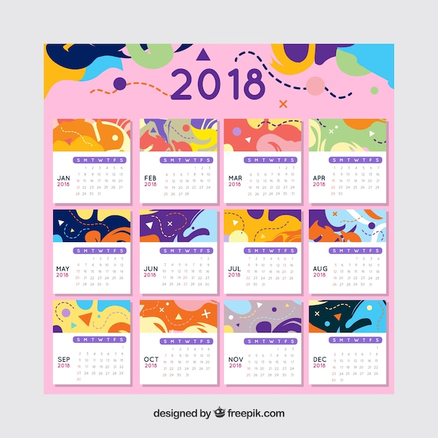 colorful abstract 2018 calendar template free vector