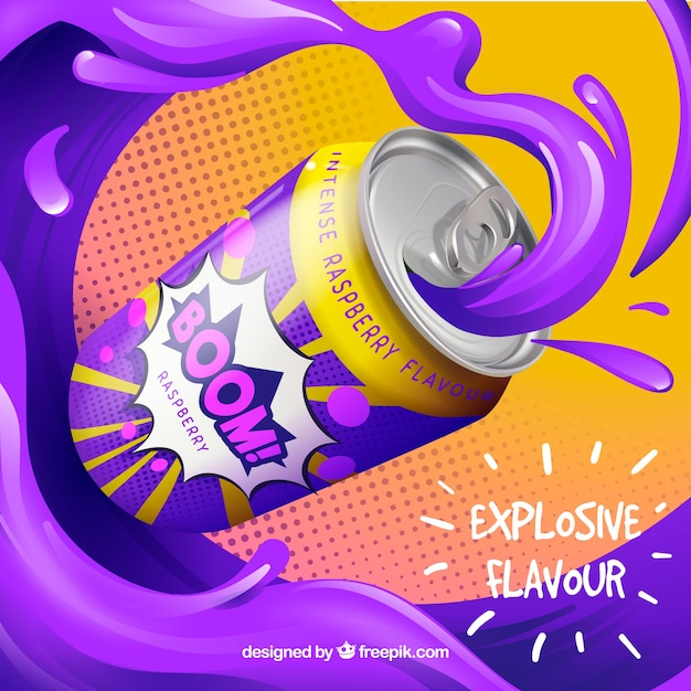 Colorful abstract advertisement of drink Free Vector