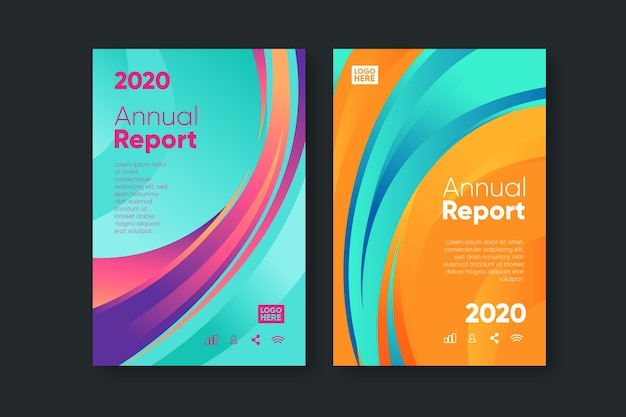 Colorful abstract annual report template collection Free Vector