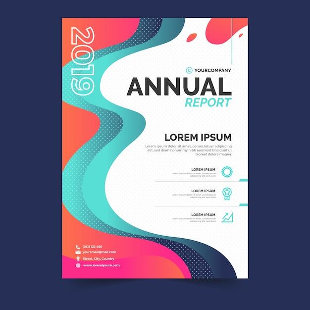 Красочный абстрактный годовой отчет шаблон Бесплатные векторы