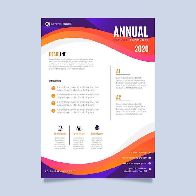 Modello astratto colorato rapporto annuale Vettore gratuito