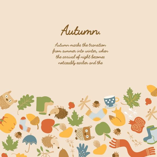 Красочный абстрактный осенний шаблон с текстовыми листьями, животными, яблоком, тыквой, одеждой, грибами, чашкой и зонтиком Бесплатные векторы