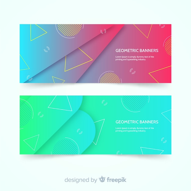 Colorful abstract banners with geometric design Free Vector