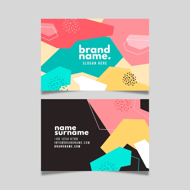 Colorful abstract business card template Free Vector