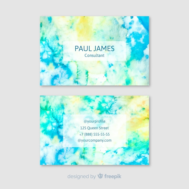 Colorful abstract business card in watercolor Free Vector
