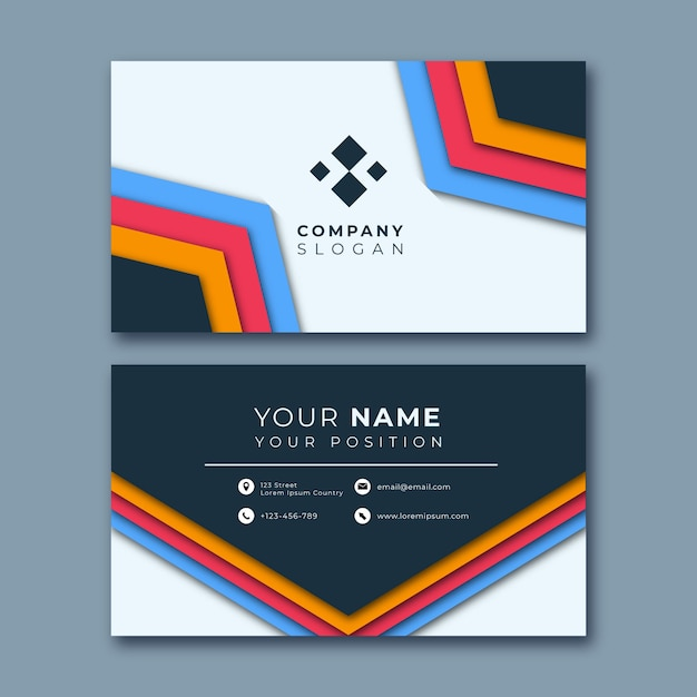 Colorful abstract business card Free Vector