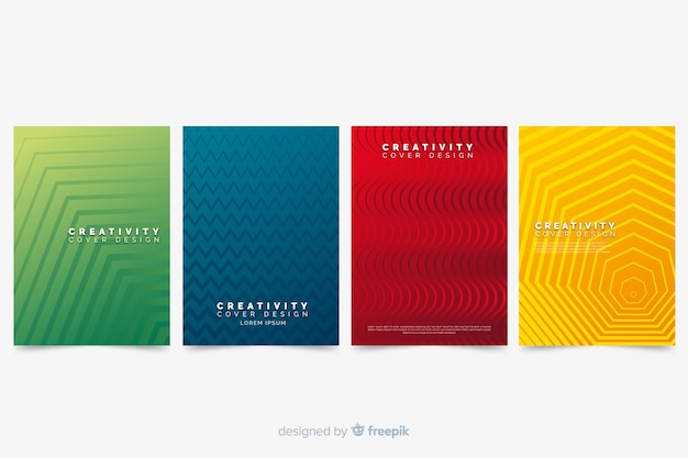 Colorful abstract cover collection with geometric pattern Free Vector