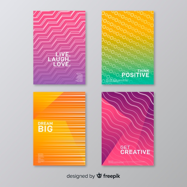 Colorful abstract cover collection Free Vector