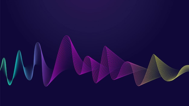 Colorful abstract curve line on dark background  ideal for web