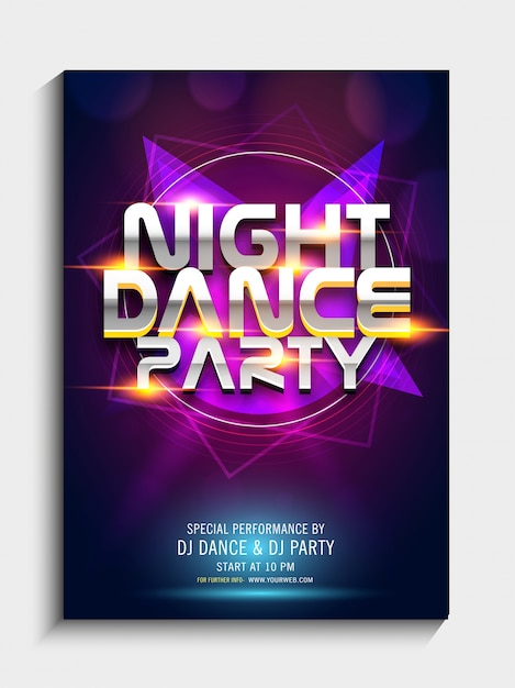 Colorful abstract design decorated, Night Dance Party Template ...