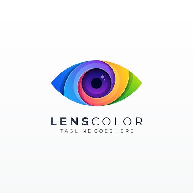Цветной абстрактный значок глаза видение пузыря Premium векторы
