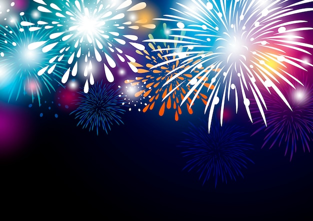 Colorful abstract fireworks background design Premium Vector
