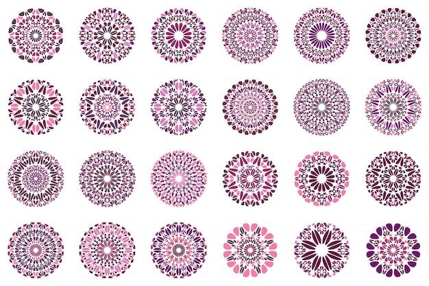 Colorful abstract floral mandala logo design set Premium Vector