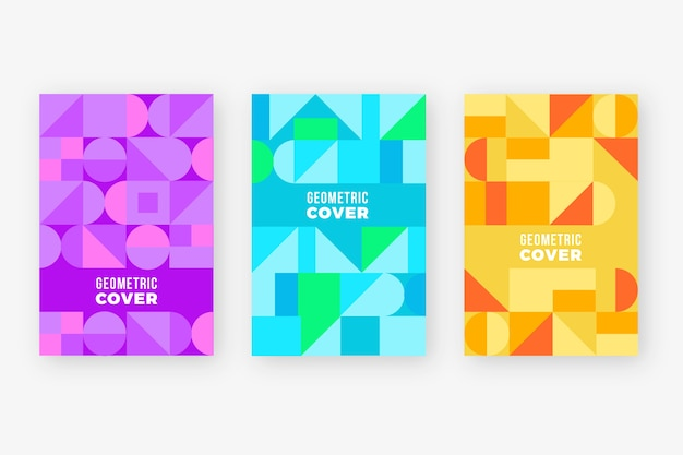Colorful abstract geometric cover collection Free Vector