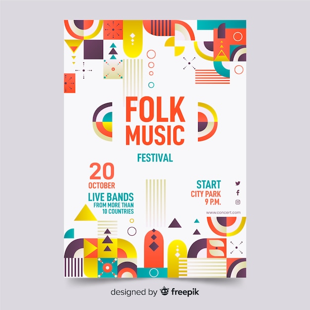 Colorful abstract geometric music poster template Free Vector