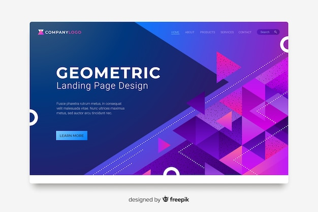 Colorful abstract geometric shapes landing page Free Vector