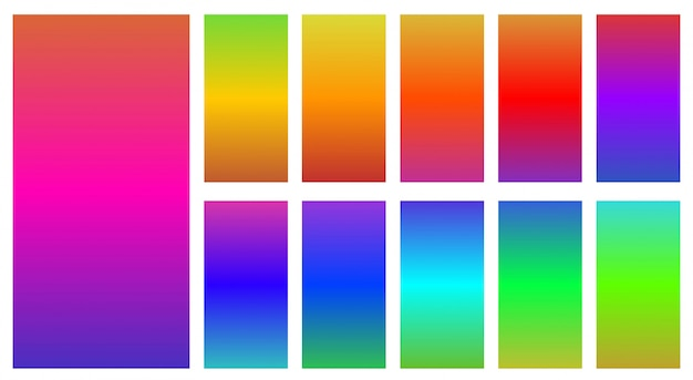 Colorful  of abstract gradients set over white Premium Vector