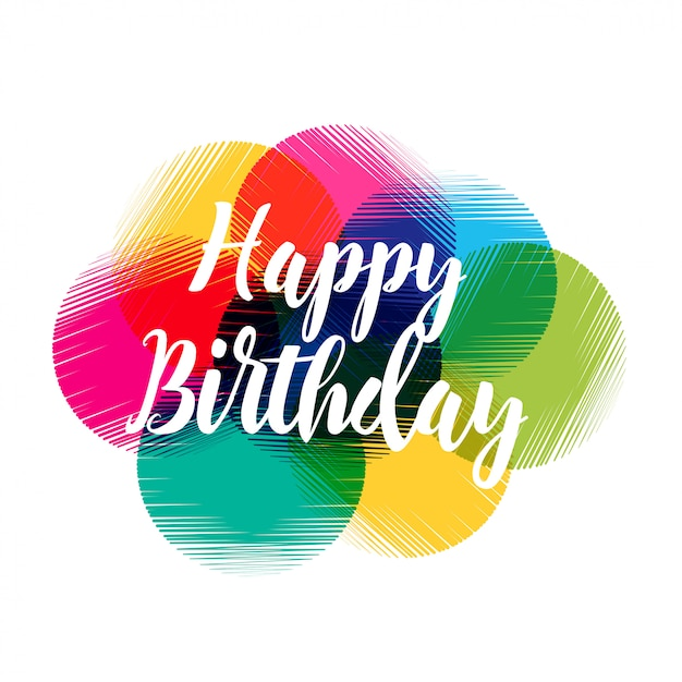 colorful abstract happy birthday design vector free download