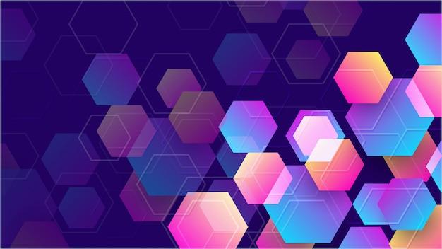 カラフルな抽象的な六角形の背景。 Premiumベクター