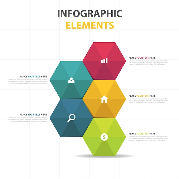 Colorful Abstract Hexagon Business Infographic Template