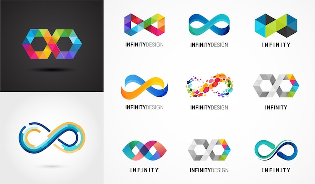 カラフルな抽象的な無限大、無限のシンボルとアイコンのコレクション Premiumベクター