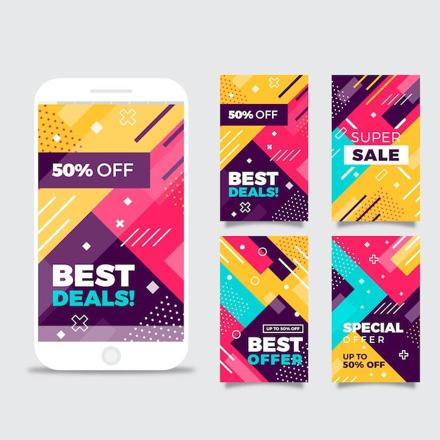 Colorful abstract instagram sale stories Free Vector