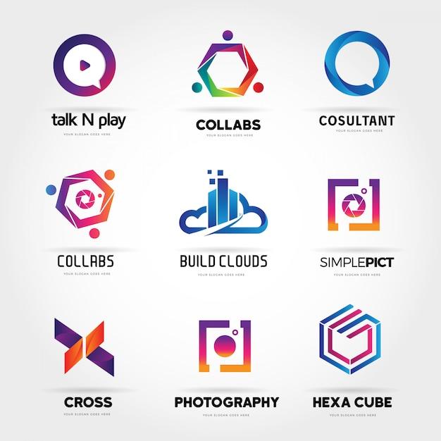 Colorful abstract internet logo collection Premium Vector