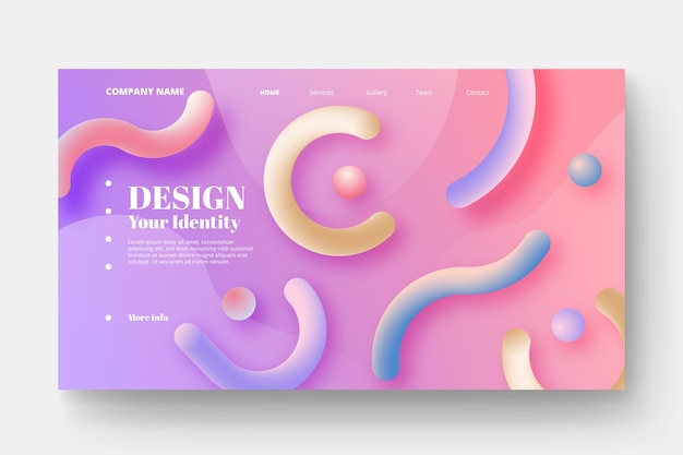 Colorful abstract landing page Free Vector