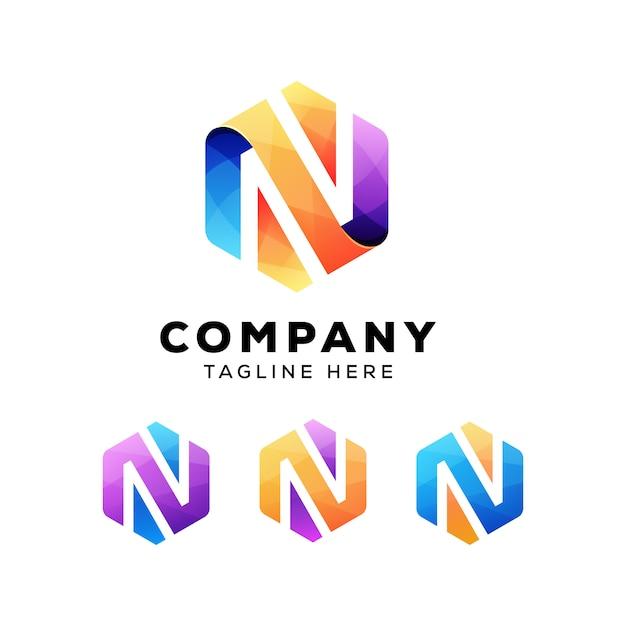 カラフルな抽象文字n六角形のロゴまたはロゴタイプ Premiumベクター