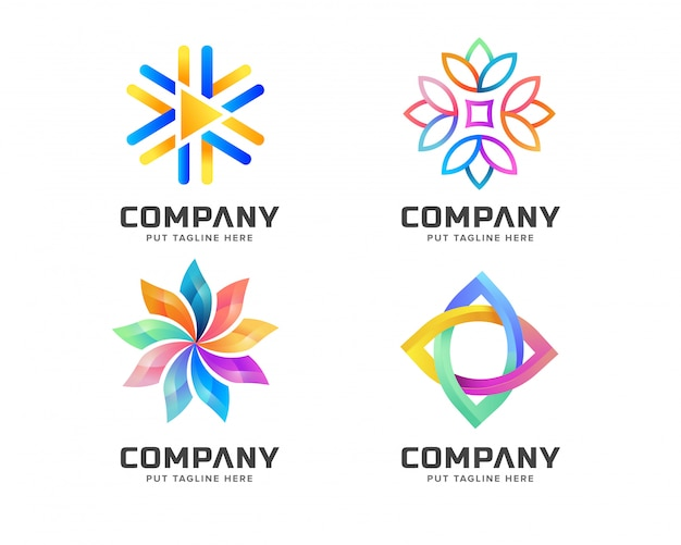 Colorful abstract logo template for business Premium Vector