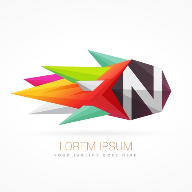 Colorful abstract logo with letter n Free Vector