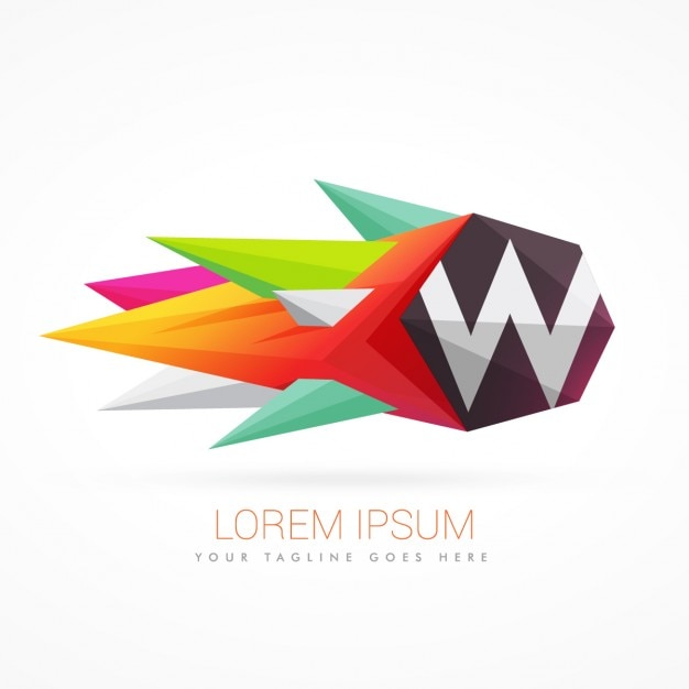 Colorful abstract logo with letter w Free Vector