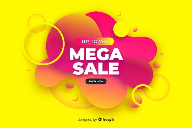 Colorful abstract mega sales background Free Vector