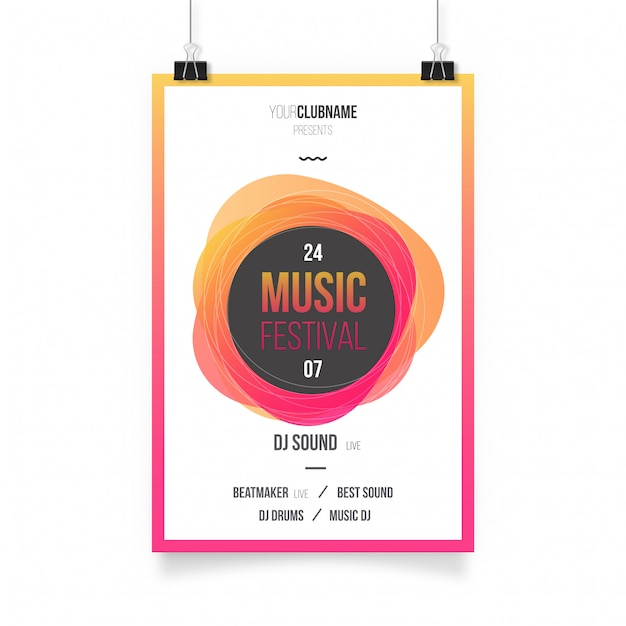 Colorful Abstract Music Poster Free Vector