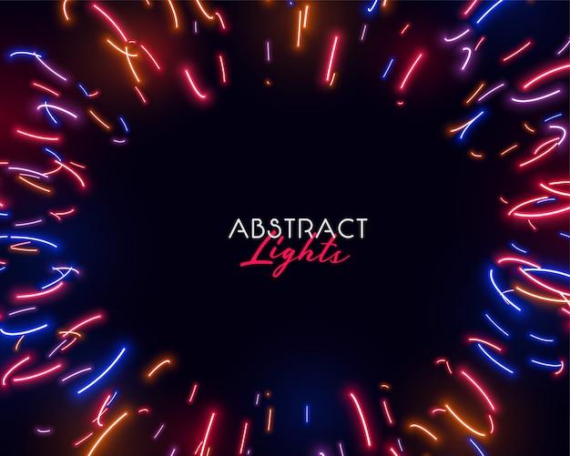 Luci al neon astratte colorate in forme irregolari Vettore gratuito
