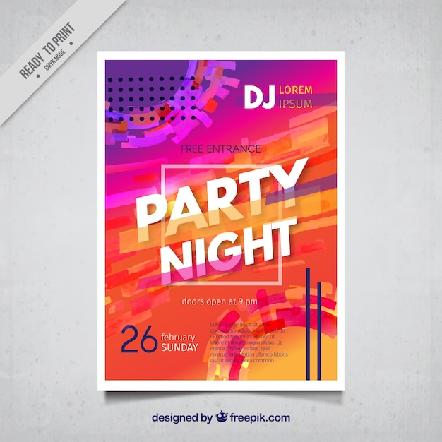 Colorful abstract night party poster Free Vector