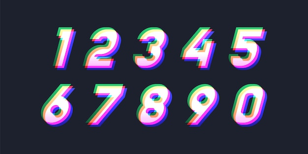 Colorful abstract numbers Premium Vector