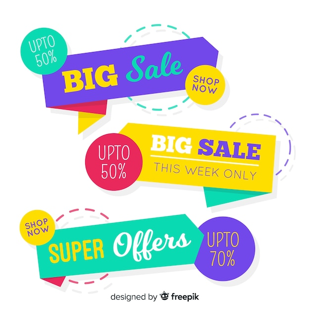 Colorful abstract origami sale banner set Free Vector