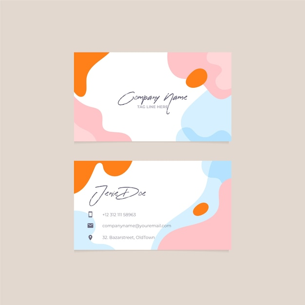 Colorful abstract painted business card template Free Vector