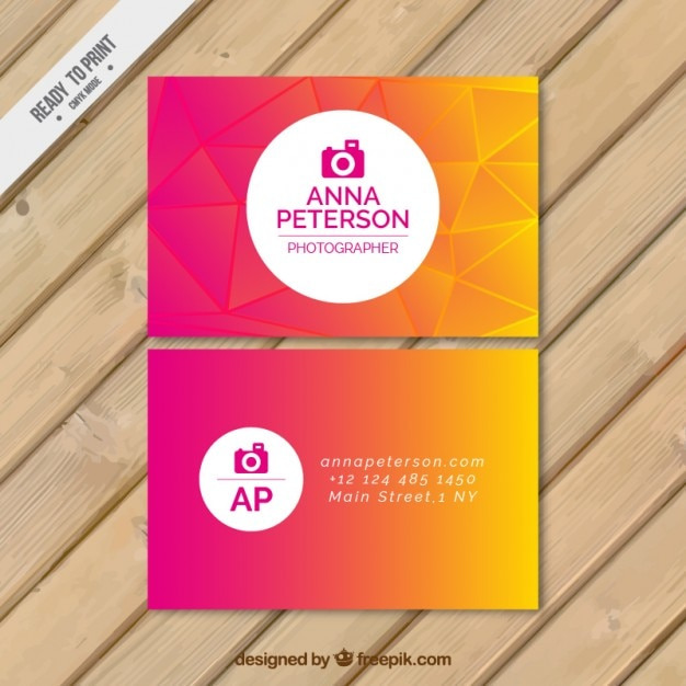 Colorful abstract photographer card