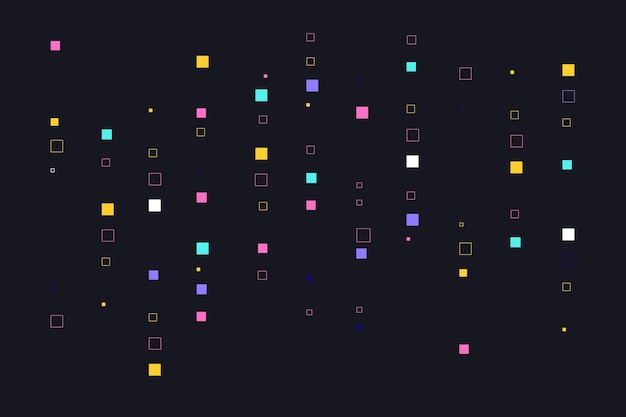 カラフルな抽象的なピクセル雨背景 無料ベクター