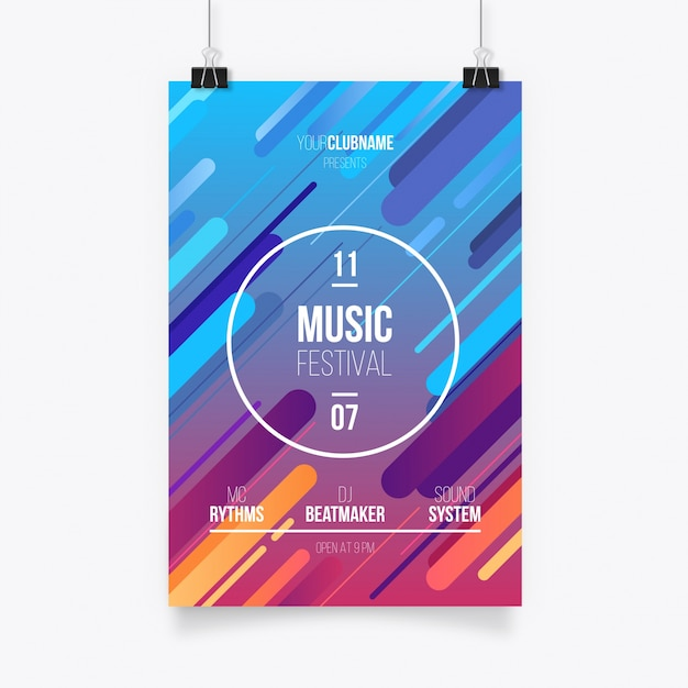 Colorful abstract Poster Template Free Vector