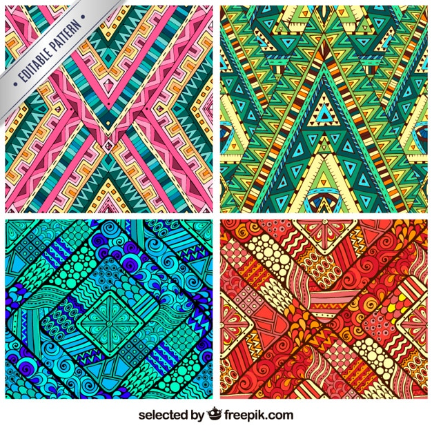 Colorful abstract prints Free Vector