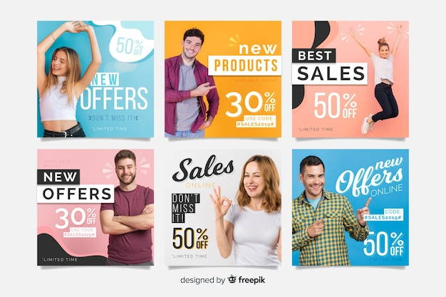Colorful abstract sale instagram post collection with photo Free Vector